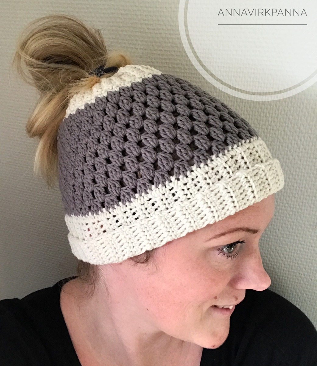Mönster / Pattern Messy Bun Beanie
