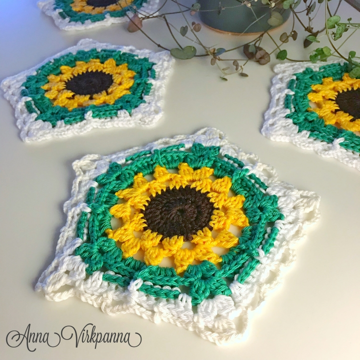 Mönster Solrosunderlägg / Pattern Sunflower Coaster